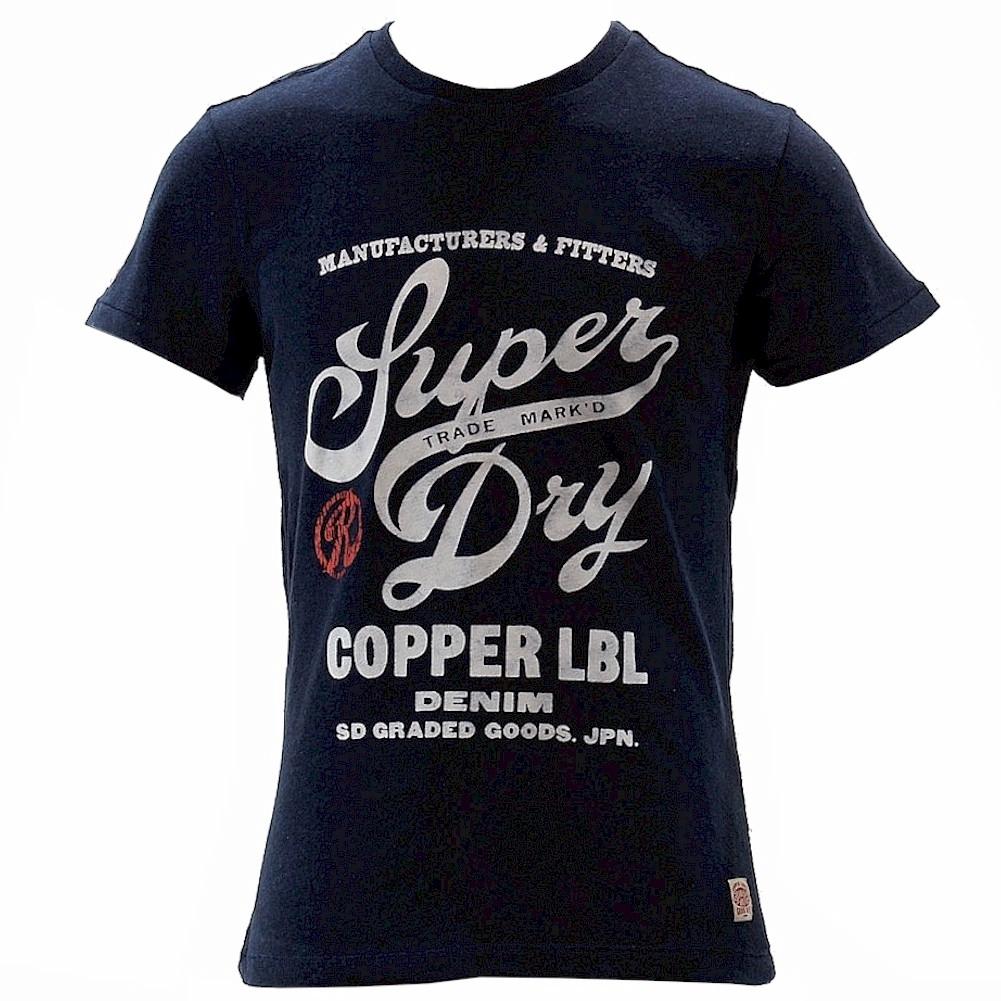 Image of Superdry Men's Copper Label Magna Short Sleeve T Shirt - Blue - X Large