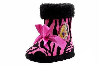 Barbie Toddler Girl's Plush Zebra Print Bow Bootie Slippers Shoes