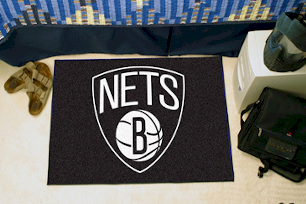 Image of NBA Brooklyn Nets Floor Mat Rug - Black - Starter Rug   19x30 Inch