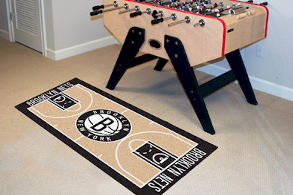 Image of NBA Brooklyn Nets Floor Mat Rug - Black - Court Runner Rug   24x44 Inch