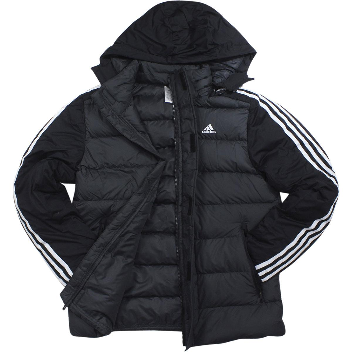 Image of Adidas All Weather Performance Itavic 3 Stripe Water Repellant Hooded Jacket - Black - X Large