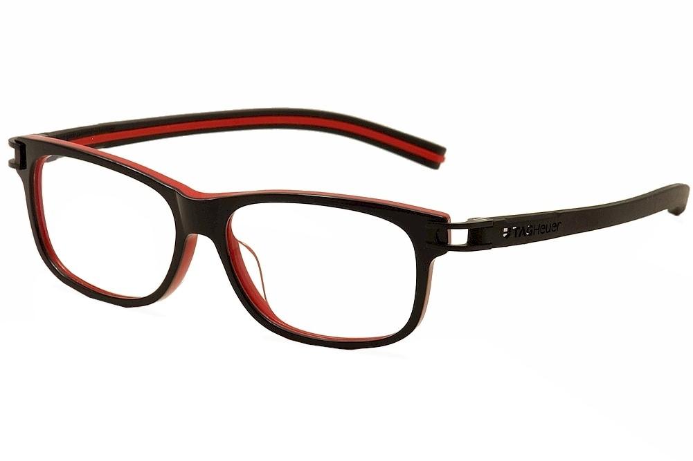 Image of Tag Heuer Men's Eyeglasses Track S TH7606 TH/7606 Optical Frame - Black/Red   001 - Lens 54 Bridge 14 Temple 145mm