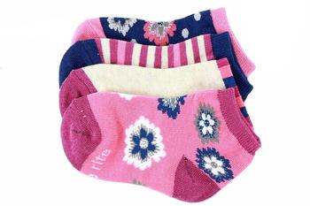 Stride Rite Toddler/Little/Big Girl's 4-Pairs Soft Knit Floral Assorted Socks UPC: