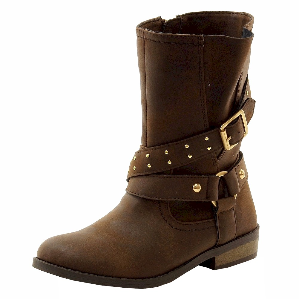 Image of Jessica Simpson Girl's Callie Fashion Moto Boots Shoes - Brown - 1   Little Kid