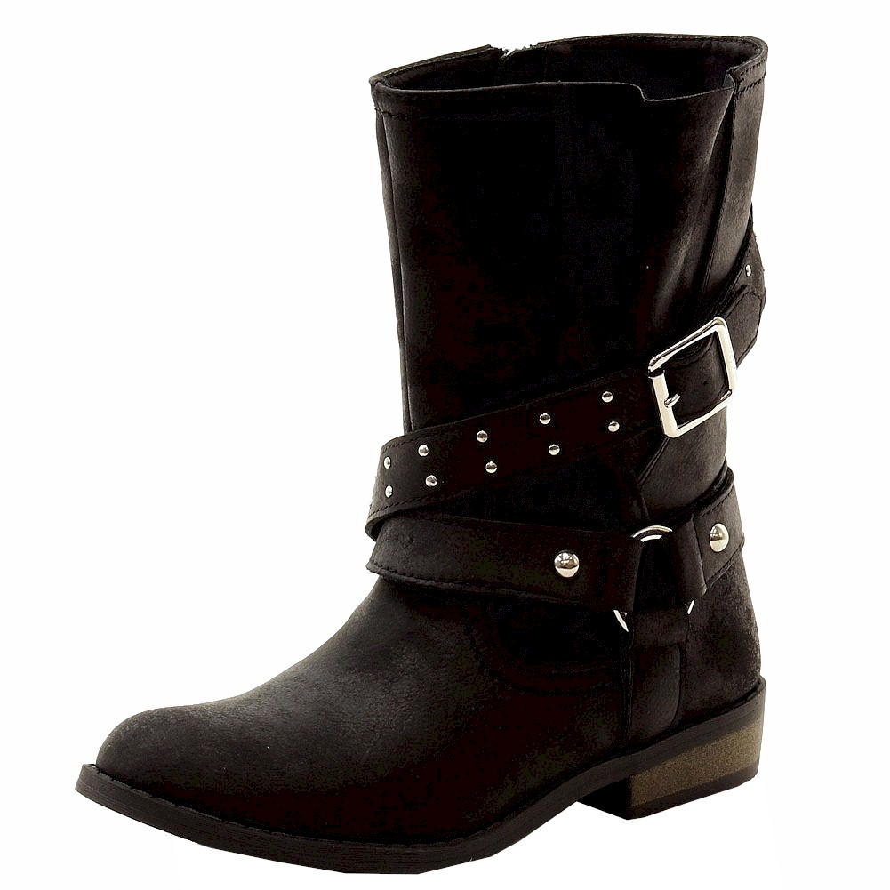 Image of Jessica Simpson Girl's Callie Fashion Moto Boots Shoes - Black - 12   Little Kid