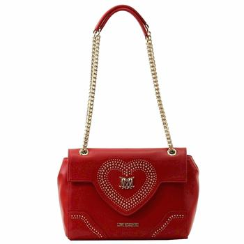 Love Moschino Women's Heart & Chain Flap Over Satchel Handbag