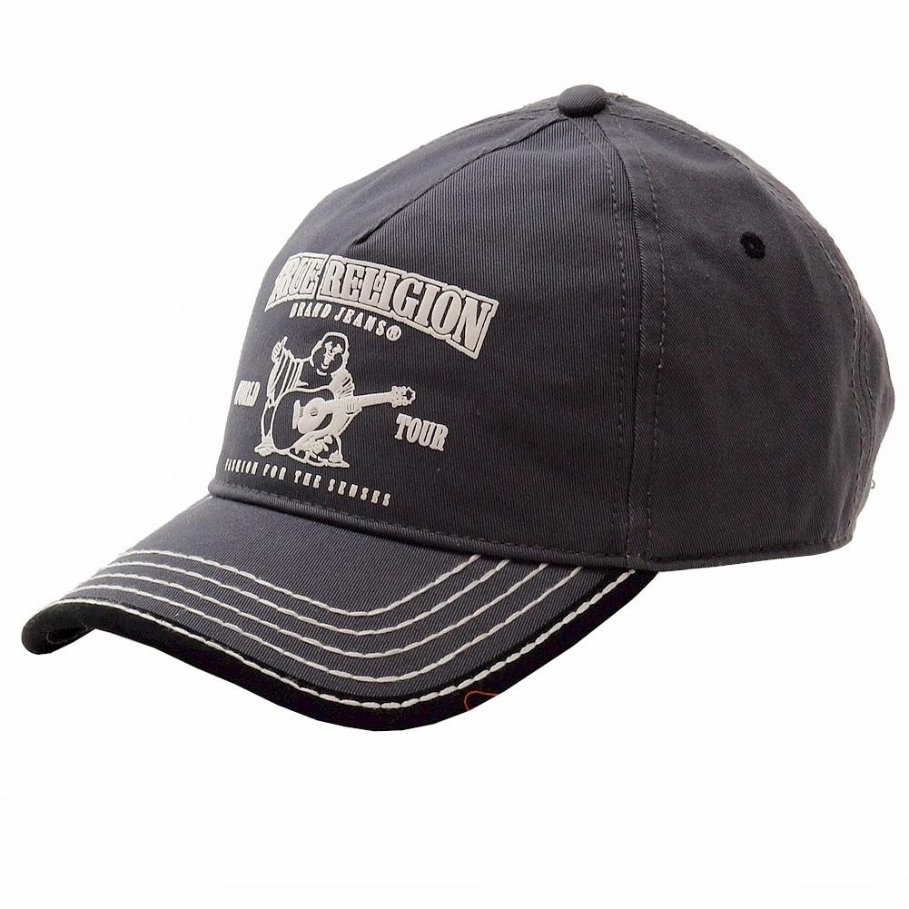 True Religion Men s Buddha Logo Adjustable Baseball Hat (One Size Fits Most 8bc40120507b