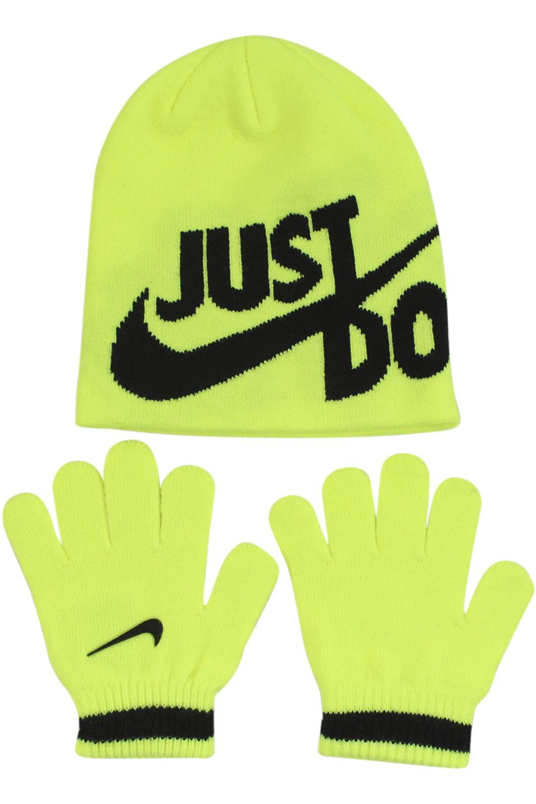 Image of Nike Boy's Just Do It 2 Piece Beanie Hat & Gloves Set - Volt - 4/7