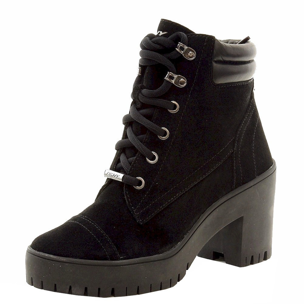 Image of Donna Karan DKNY Women's Shelby Fashion Lace Up Boots Shoes - Black - 6