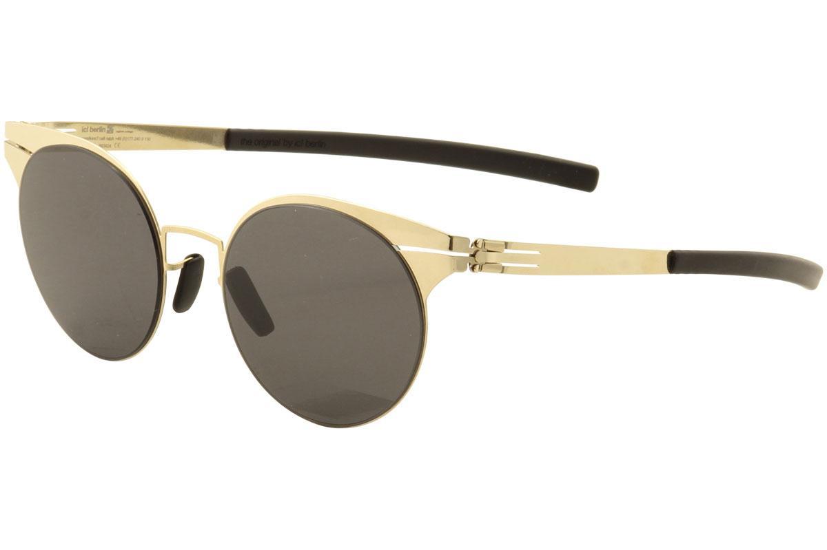 Image of Ic! Berlin Men's Carla L. Fashion Sunglasses - Gold/Smoke Black - Lens 48 Bridge 19 Temple 145mm