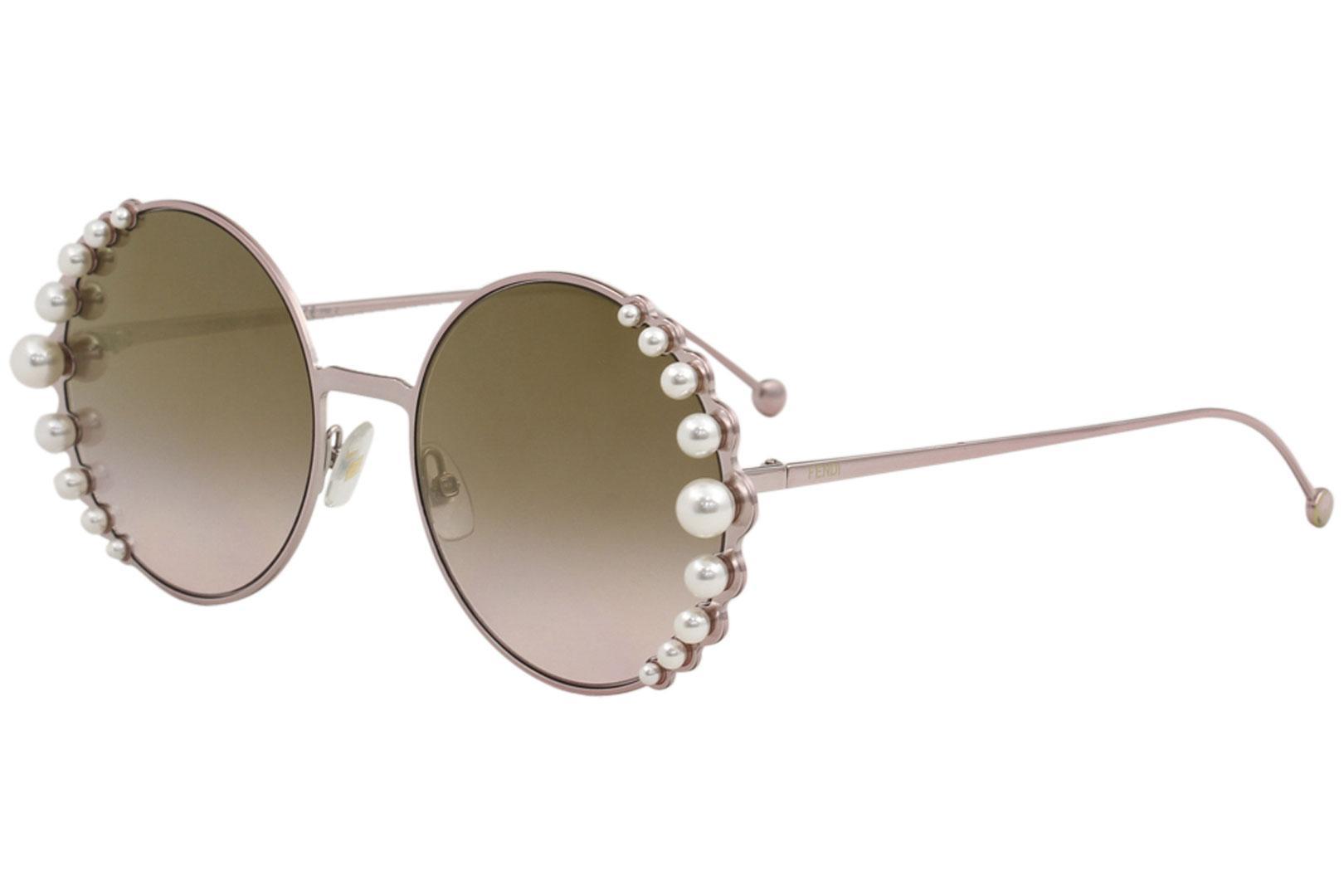 Fendi Women's FF0295S FF/0295/S 35J/53 Pink/Pearl Fashion Round Sunglasses 58mm