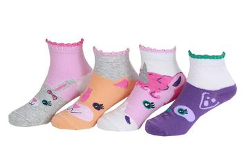 Stride Rite Infant/Toddler/Little Girl's 4-Pairs Sweet Animal Face Ankle Socks