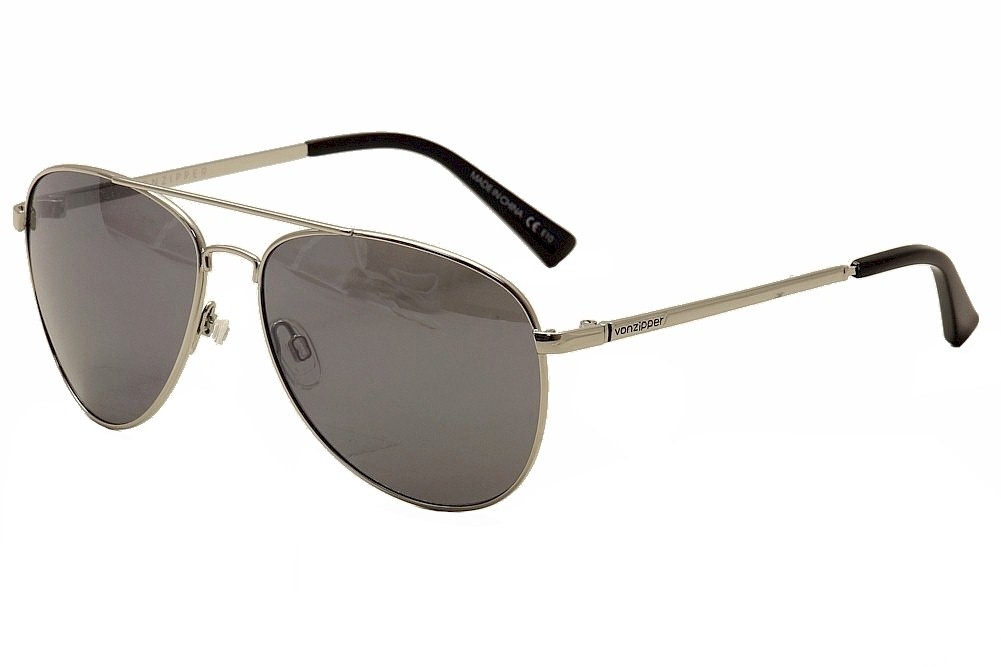 Image of Von Zipper Farva Fashion Pilot VonZipper Sunglasses - Gloss Silver/Grey Chrome - Medium Fit