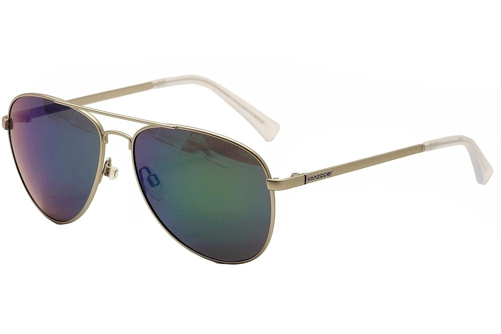Image of Von Zipper Farva Fashion Pilot VonZipper Sunglasses - Silver Satin/Quasar Glo - Medium Fit
