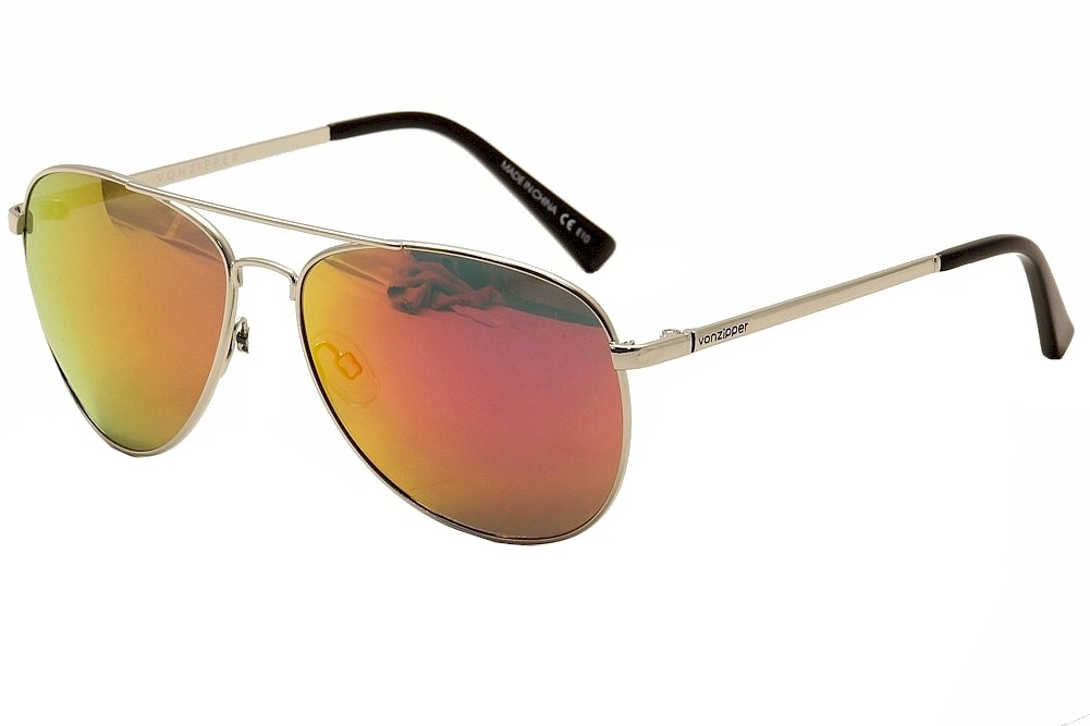 Image of Von Zipper Farva Fashion Pilot VonZipper Sunglasses - Gloss Silver/Pink Chrome - Medium Fit