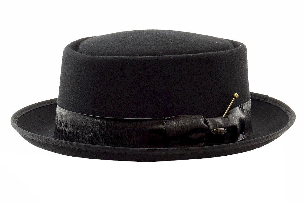Image of Scala Classico Men's Fashion Crushable Wool Porkpie Hat - Black - Large