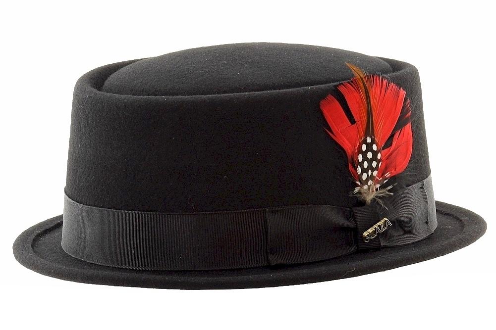 Image of Scala Classico Men's Fashion Wool Felt Porkpie Hat - Black - Medium