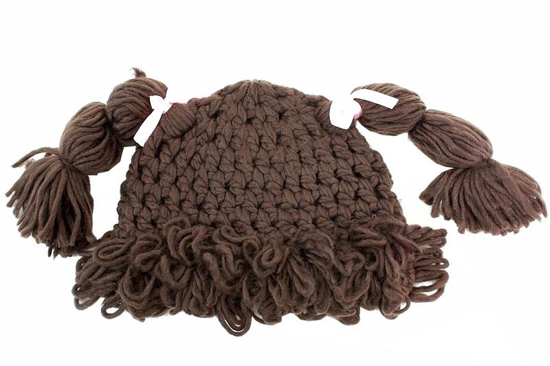 Image of Dorfman Pacific Kindercaps Girl's Knitted Pig Tail Skully Winter Hat (Fits 4 6X) - Brown