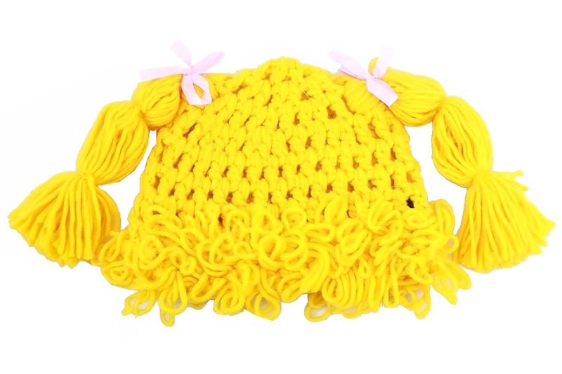 Image of Dorfman Pacific Kindercaps Girl's Knitted Pig Tail Skully Winter Hat (Fits 4 6X) - Yellow