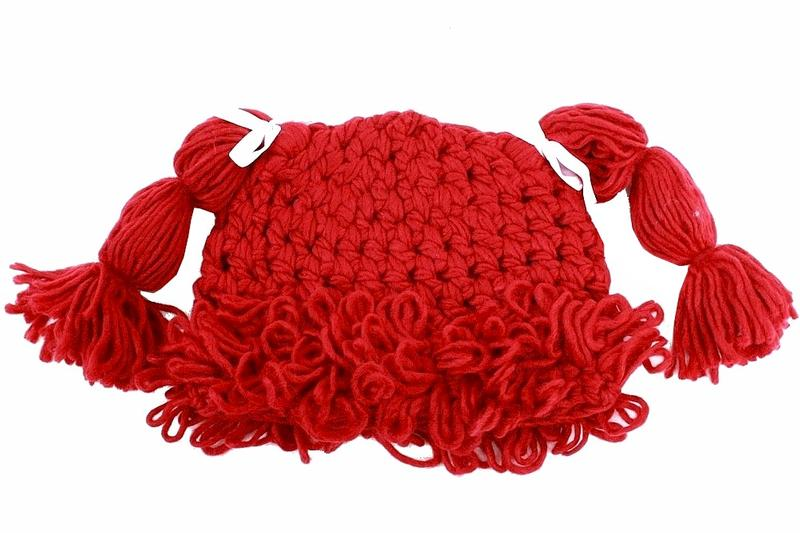 Image of Dorfman Pacific Kindercaps Girl's Knitted Pig Tail Skully Winter Hat (Fits 4 6X) - Red
