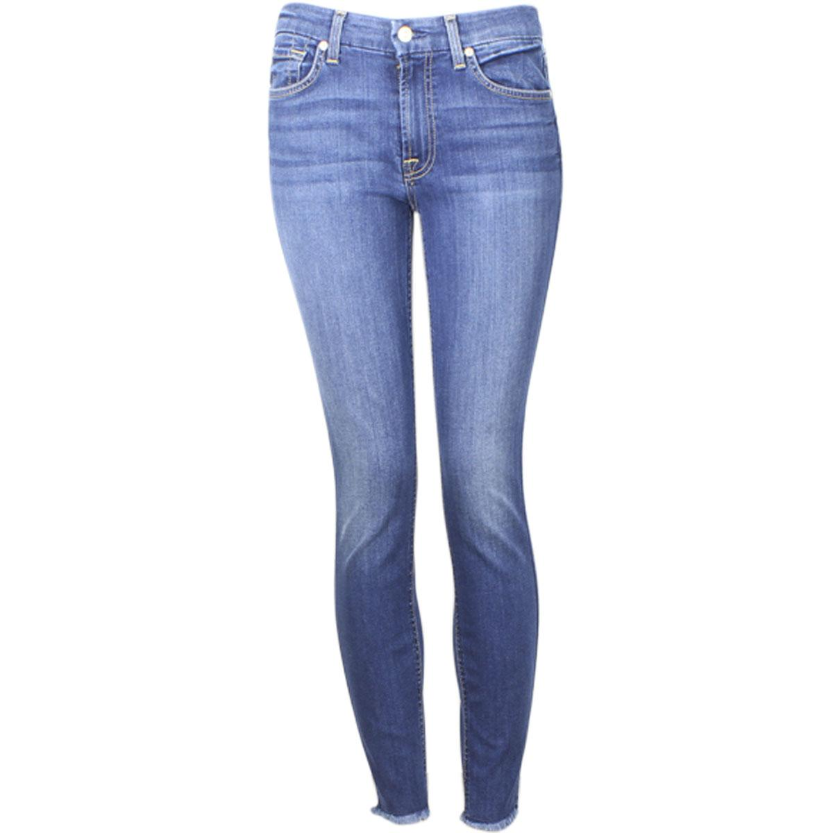 Image of 7 For All Mankind Women's (B)Air Denim The Ankle Skinny Raw Hem Jeans - Blue - 26 (1/2)