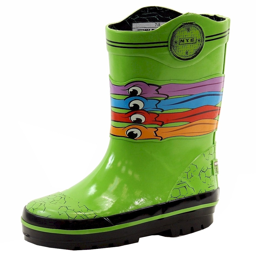 Image of Teenage Mutant Ninja Turtle Toddler Boy's Pull On Rain Boots Shoes - Green - 7/8   Toddler