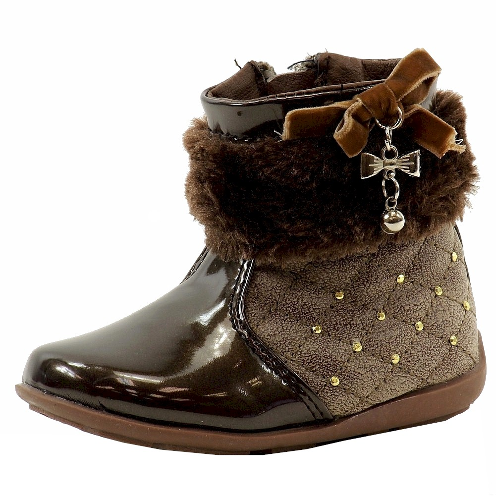 Image of Laura Ashley Toddler Girl's Studded Fashion Boots Shoes - Brown - 8   Toddler
