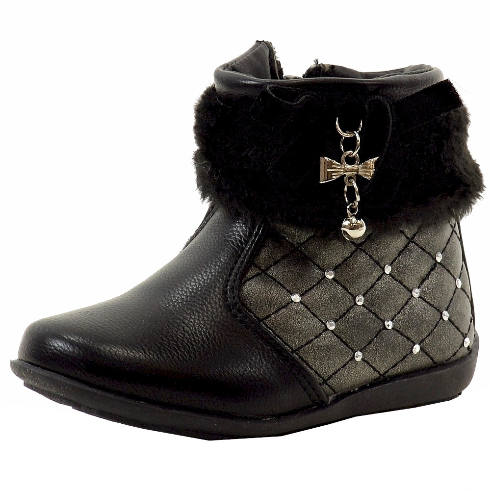 Image of Laura Ashley Toddler Girl's Studded Fashion Boots Shoes - Black - 10   Toddler