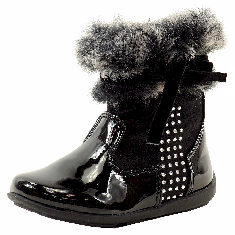 Image of Laura Ashley Toddler Girl's Fur Trimmed Fashion Boots Shoes - Black - 6   Toddler