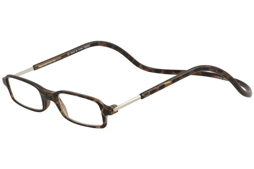 Image of Clic Reader Eyeglasses Full Rim Magnetic Reading Glasses - Brown - Strength: +2.50