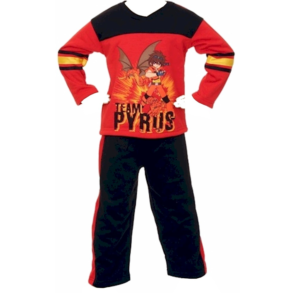 Image of Bakugan Toddler Boy's 2 Piece Red/Black Fleece Shirt & Pant Matching Set - Black - 4T