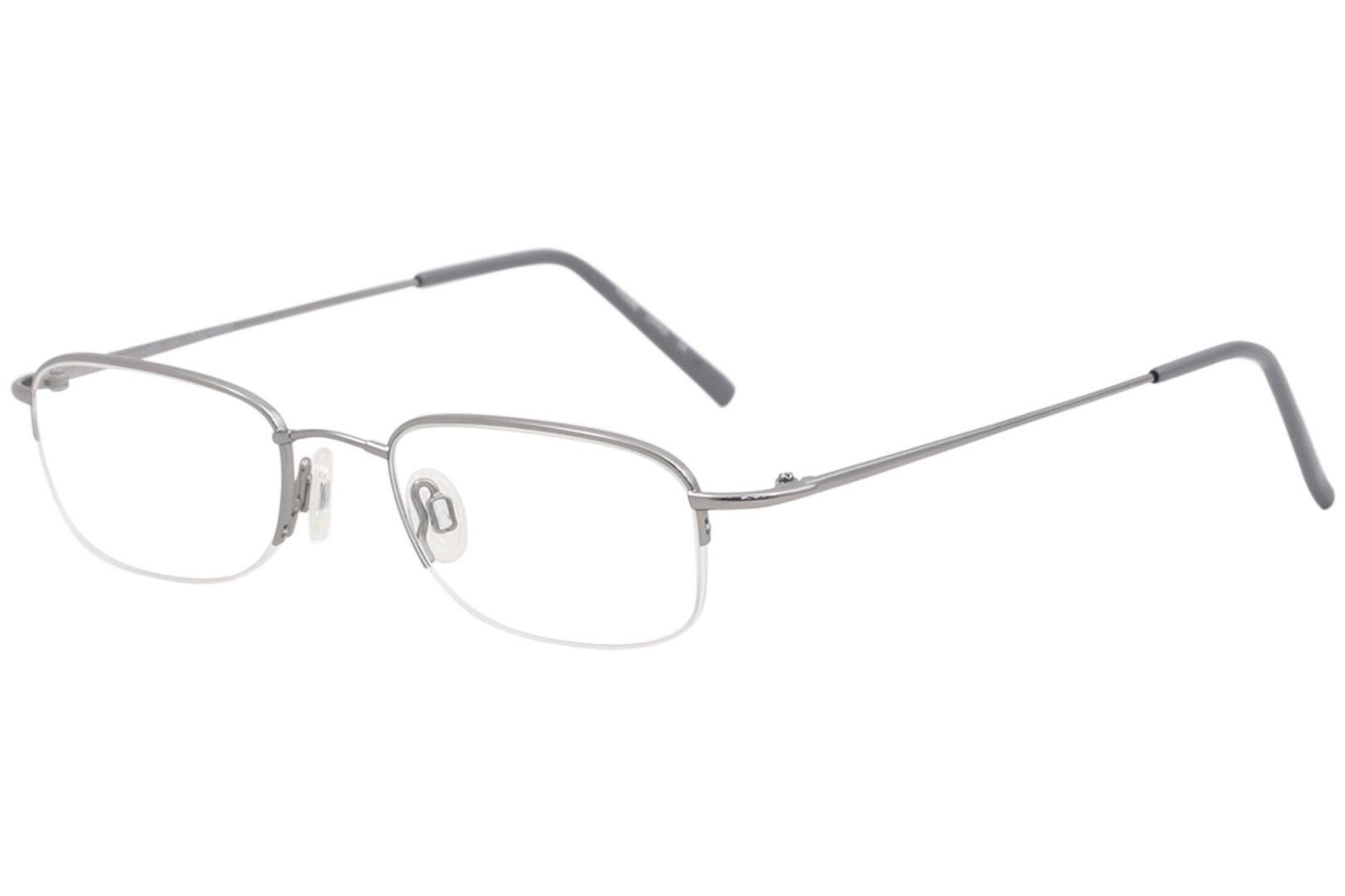 Image of Flexon Men's Eyeglasses 607 033 Light Gunmetal Half Rim Optical Frame 49mm - Light Gunmetal   033 - Lens 49 Bridge 20 Temple 140mm
