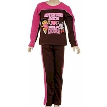 Dora The Explorer Toddler Girl's 2-Piece Pink/Brown Fleece Shirt & Pant Set