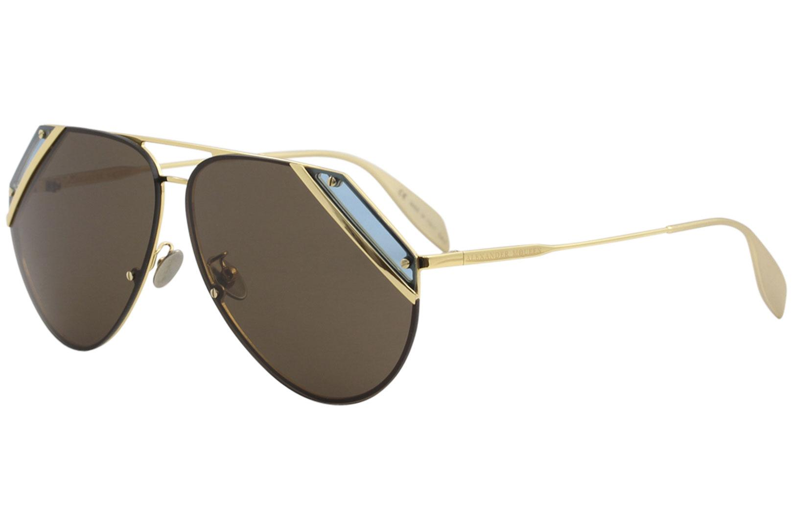 Image of Alexander McQueen Edge AM0092S AM/0092/S 008 Gold/Teal Pilot Sunglasses 65mm - Gold Teal/Brown   008 - Lens 65 Bridge 10 Temple 140mm