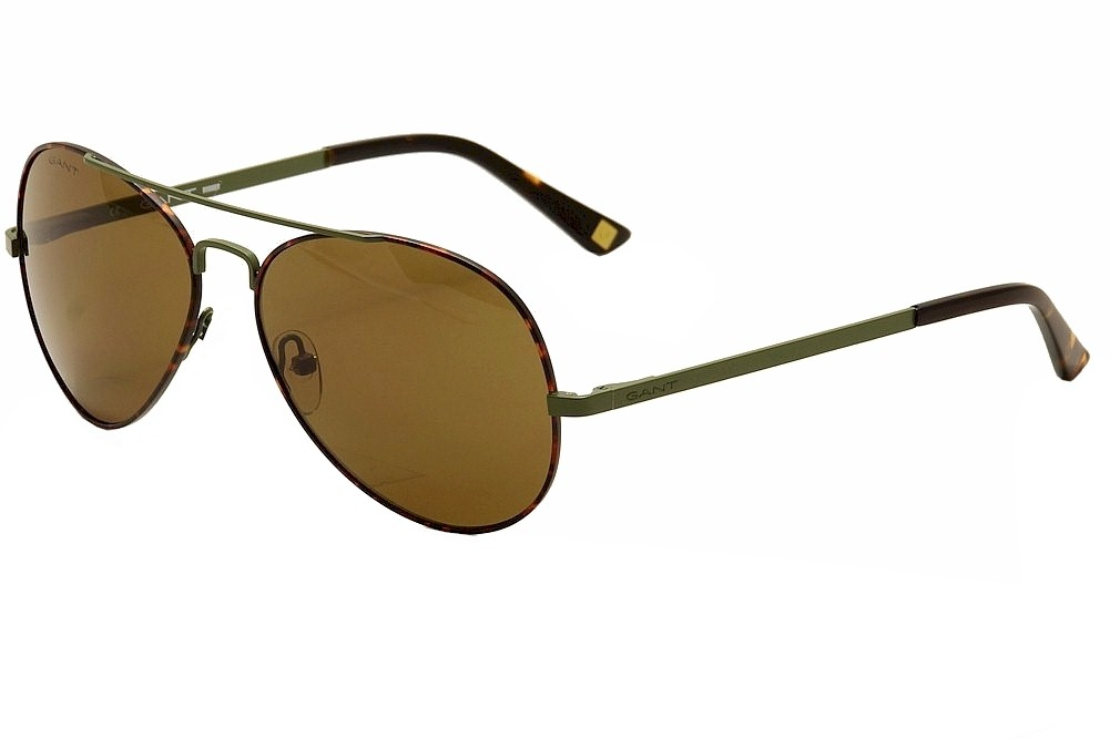 Image of Gant Rugger Men's Marty Fashion Pilot Sunglasses - Brown - Lens 59 Bridge 15 Temple 140mm