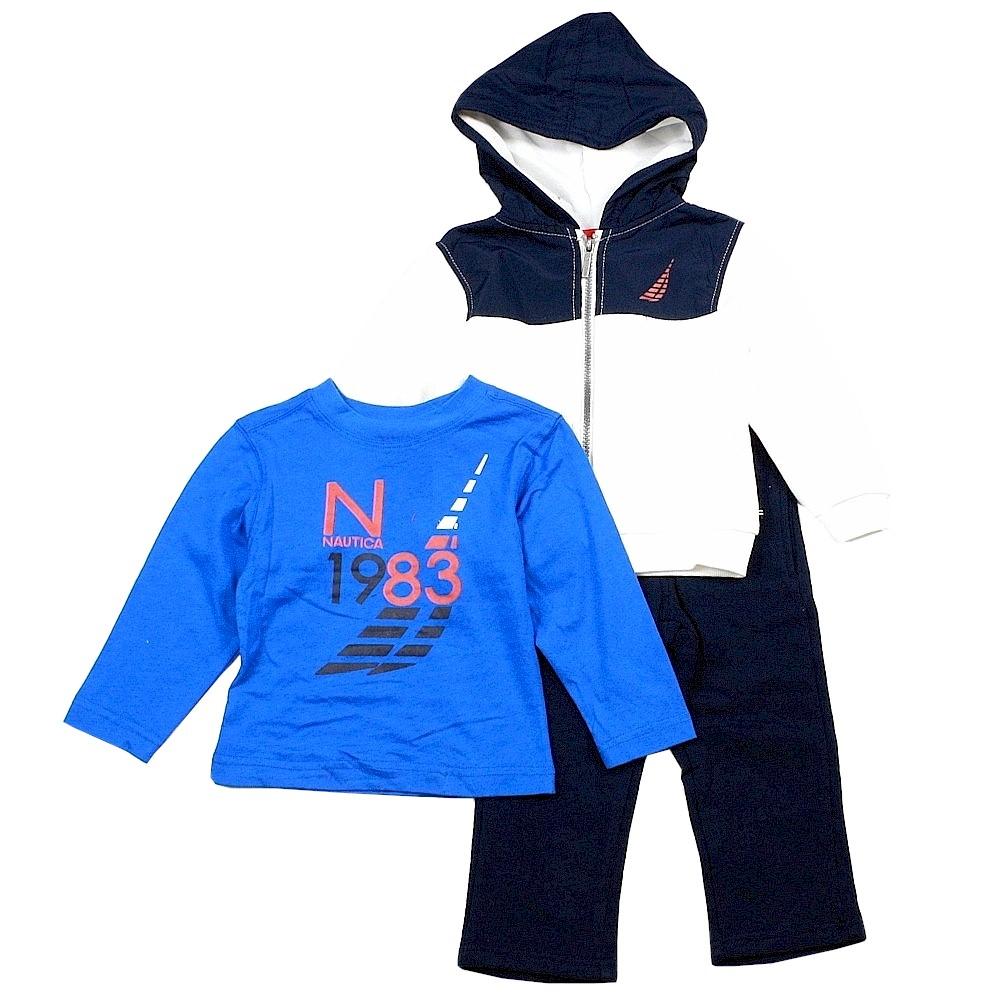 Nautica Infant Toddler Boy s 3 Piece Fleece Long Sleeve Sweat Pant Outfit