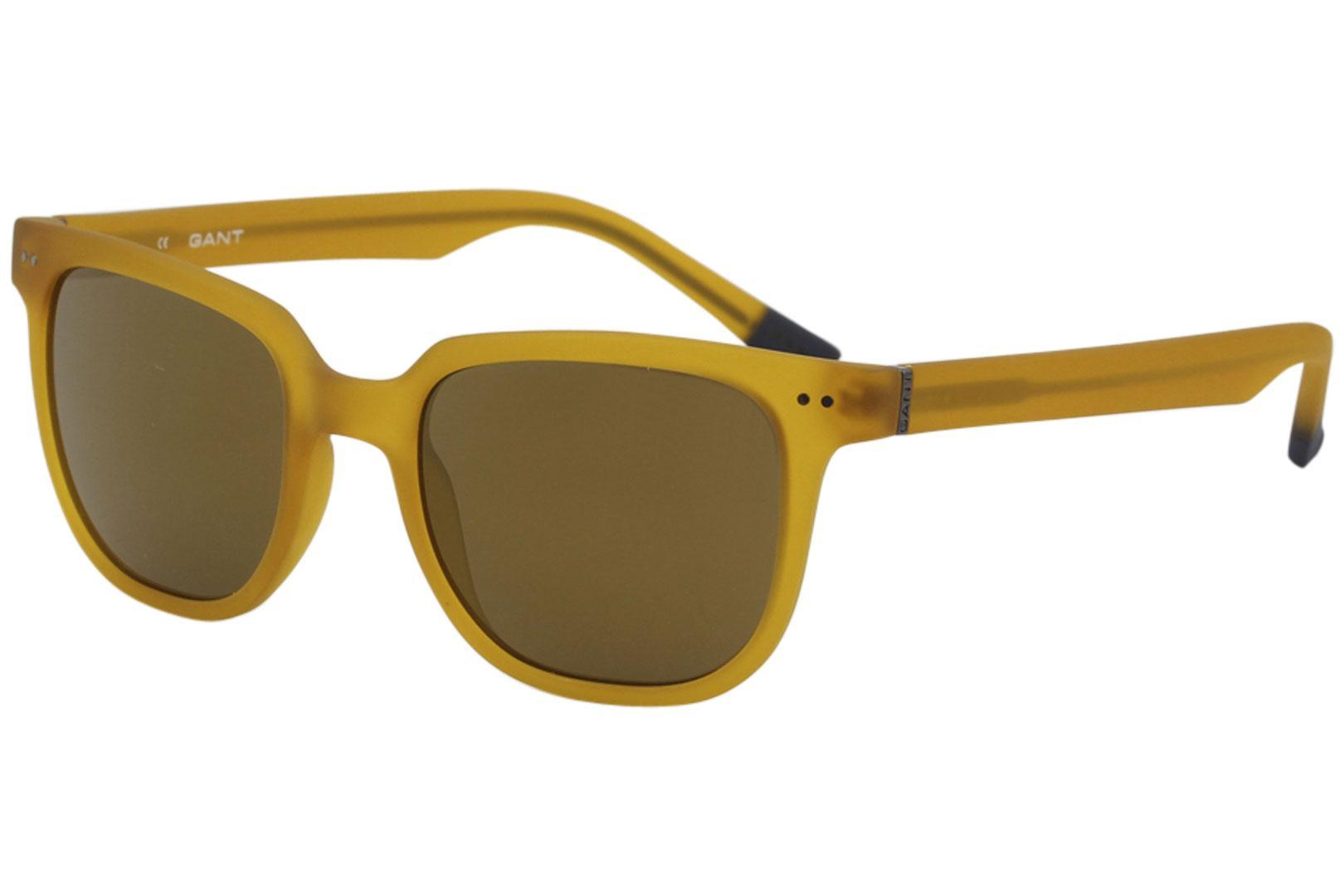 Image of Gant Men's GS7019 GS/7019 Fashion Square Sunglasses - Matte Honey/Brown Gold Mirror   MHNY/15F - Lens 52 Bridge 20 Temple 145mm