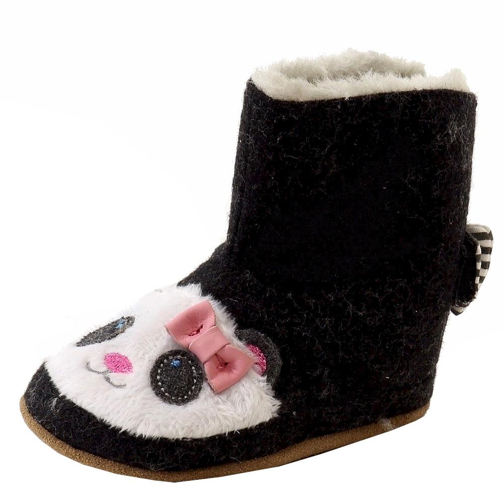 d85a453476d2f Robeez Mini Shoez Infant Girl's Panda Flannel Slip On Booties Shoes