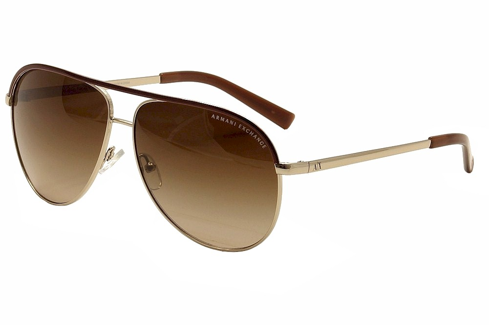 Image of Armani Exchange AX2002 AX/2002 Fashion Pilot Sunglasses - Light Gold Brown/Brown Gradient   6010/13 - Lens 61 Bridge 12 Temple 140mm