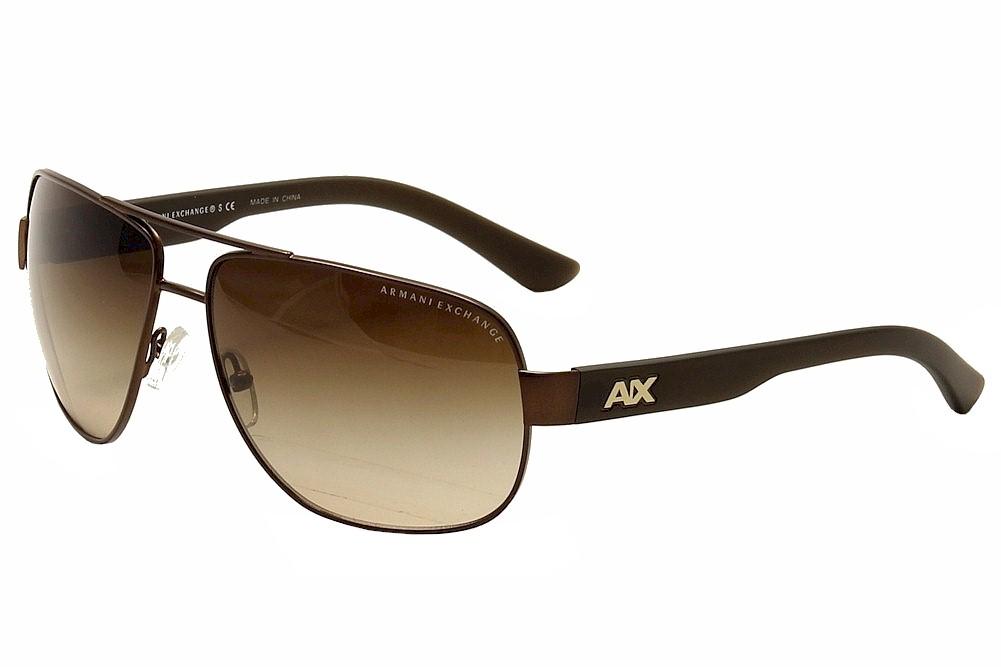 Image of Armani Exchange Men's AX2012S AX/2012/S Pilot Sunglasses - Brown - Lens 62 Bridge 14 Temple 125mm