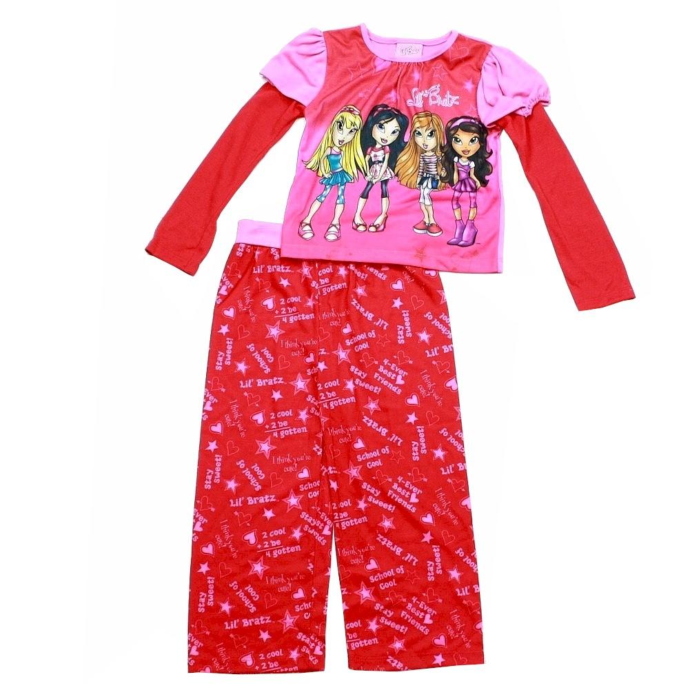 Lil Bratz Red Pink Girls Long Sleeves Pajama Sleepwear 2 Piece Set SAGGD3433 4 5