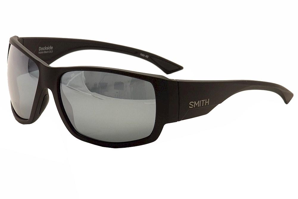 Image of Smith Optics Dockside Retro Wrap Rectangular Sunglasses - Matte Black/Dark Grey/Chromopop Platinum Polarized - Lens 56 Bridge 17 Temple 125mm
