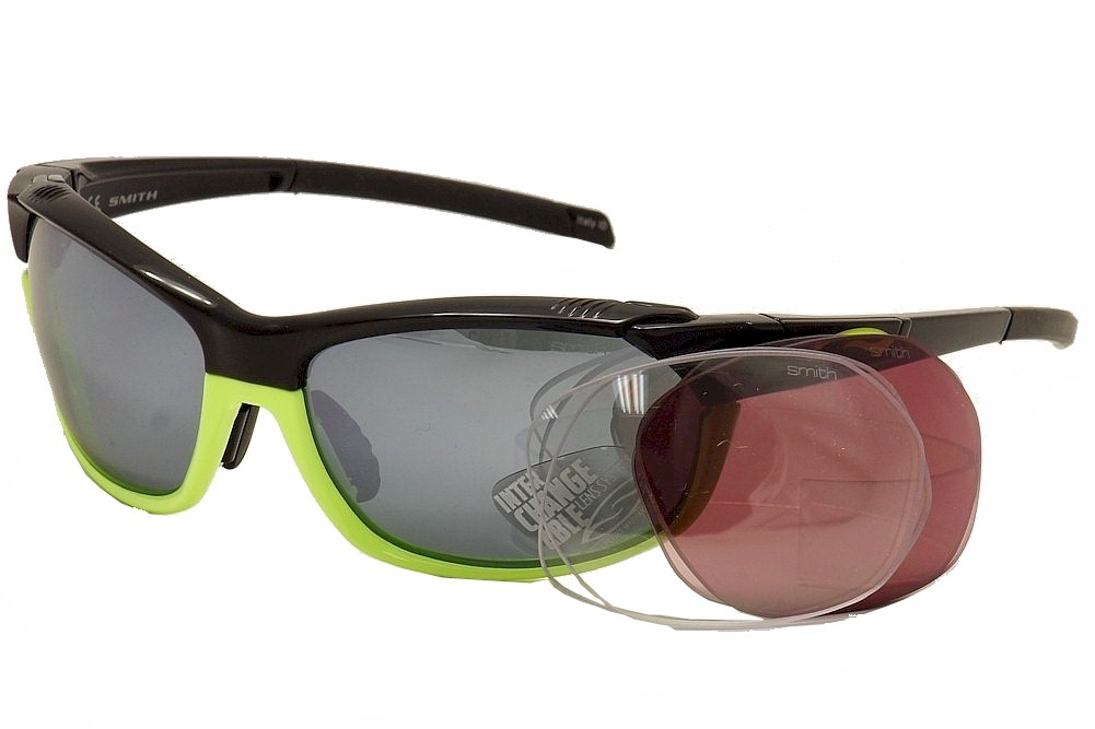 Image of Smith Optics Pivlock Overdrive Wrap Sunglasses w/Extra Replacment Lenses - Black/Yellow/Platinum Mir. Extra Clear & Rose Lens - Lens 64 Bridge 17 Temple 128mm