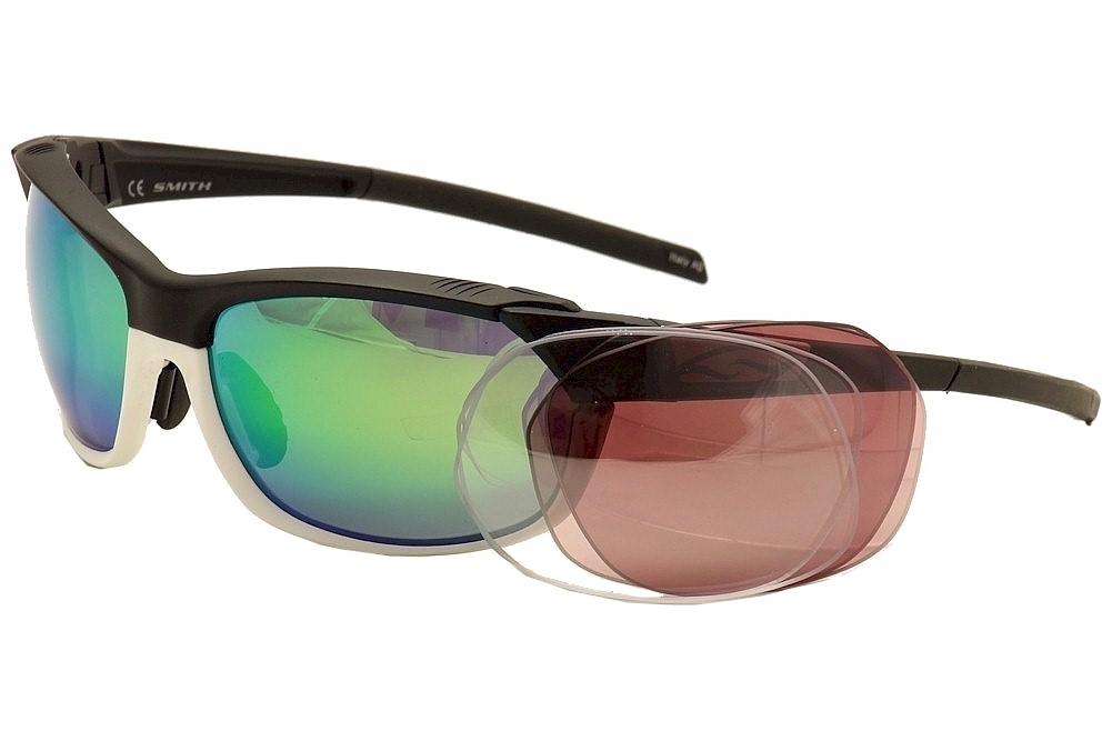 Image of Smith Optics Pivlock Overdrive Wrap Sunglasses w/Extra Replacment Lenses - Black/White/Green Mir w/ Extra Clear & Rose Lenses - Lens 64 Bridge 17 Temple 128mm