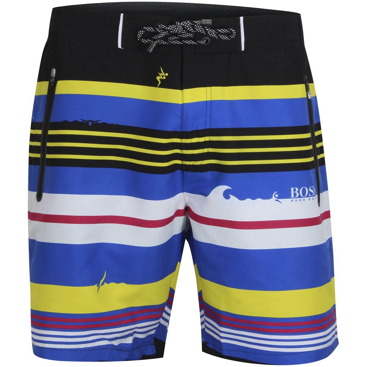 4b00b527be927 Hugo Boss Men's Cavefish Quick Dry Striped Trunks Shorts Swimwear