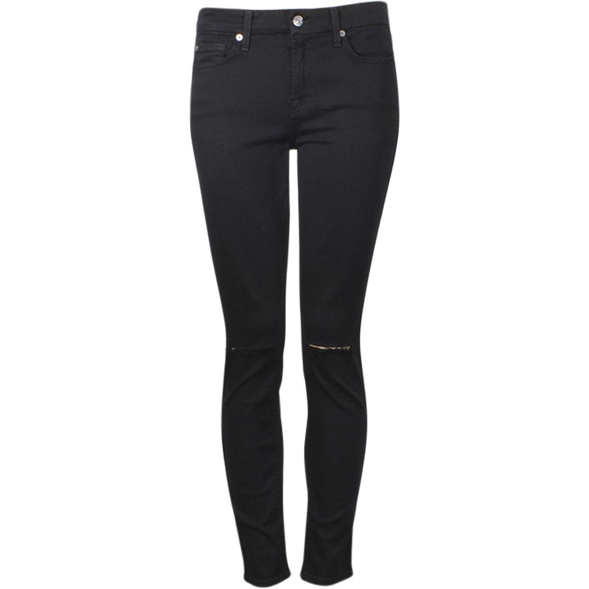 Image of 7 For All Mankind Women's (B)Air Denim Ankle Skinny With Destroy Cropped Jeans - Black - 28 (5/6)