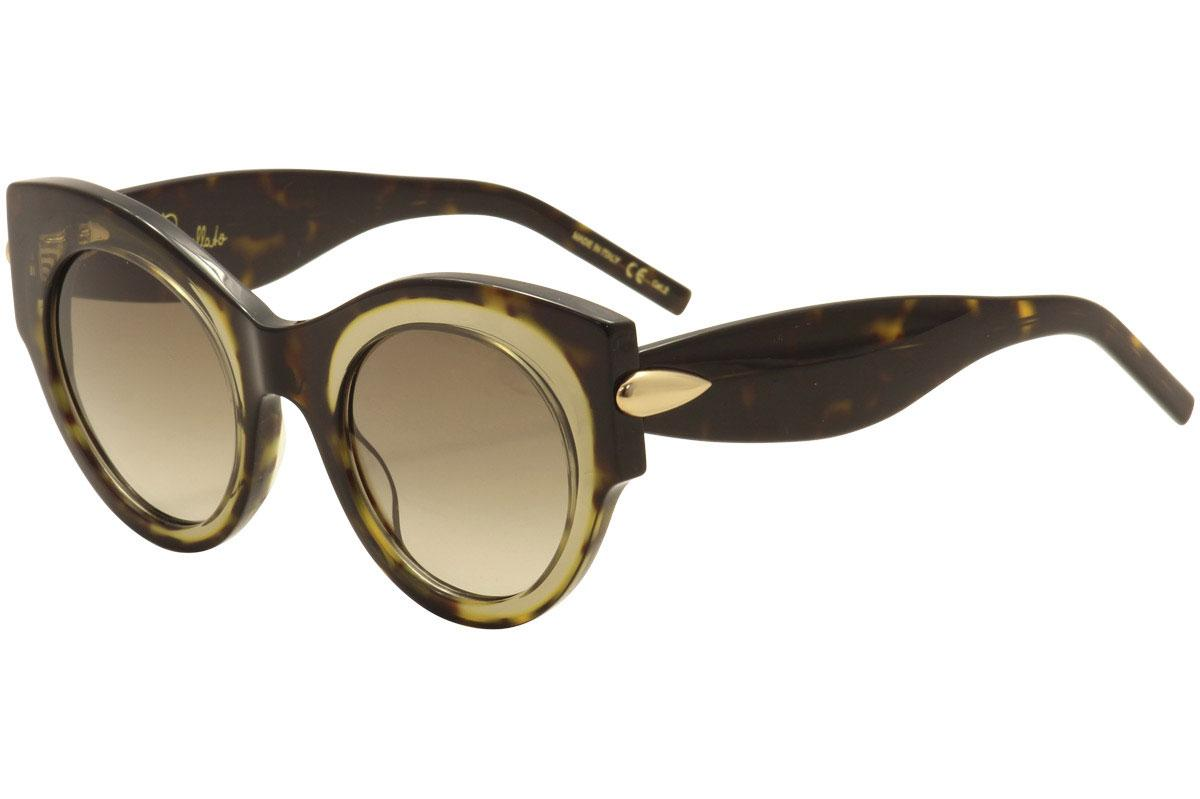 Image of Pomellato Women's PM0007S PM/0007/S Fashion Sunglasses - Dark Tortoise Tan Crystal Gold/Brown Grad  002  - Lens 48 Bridge 24 Temple 140mm