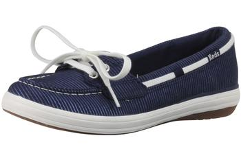 Keds Women's Glimmer Metallic Stripe Slip On Boat Shoes UPC: