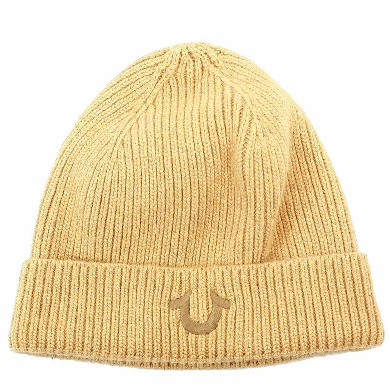 True Religion Men s Ribbed Knit Beanie Hat (One Size Fits Most) e17c4a7534de