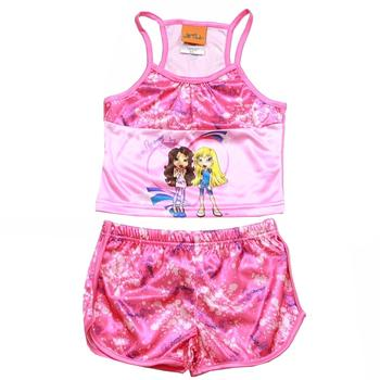 Lil' Bratz Girl's Pink 2 Piece Pajama Tank Top & Short Sleepwear Set UPC: